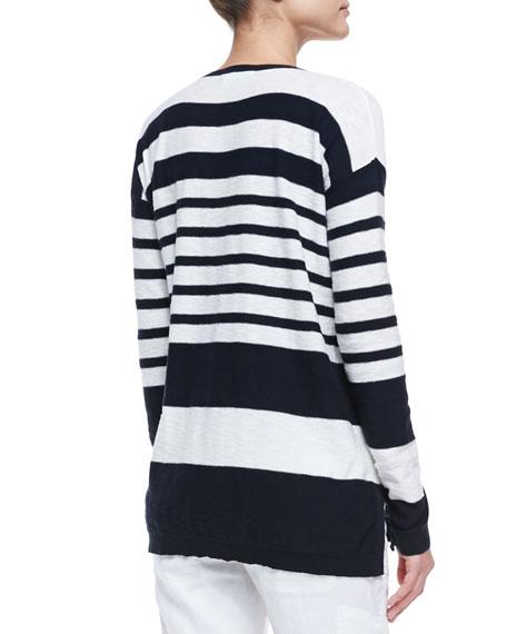 Striped Cotton Knit Sweater, Coastal