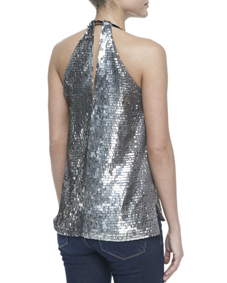 Sequined Halter Top, Gull