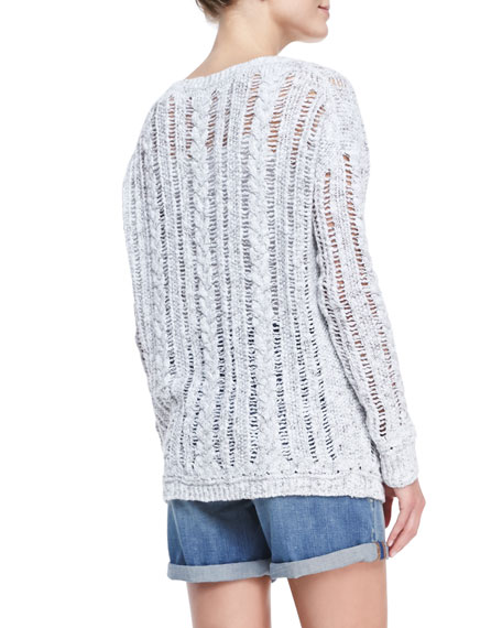 Cable-Knit/Open-Stitch Sweater
