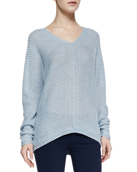 Wide-Stitch Linen Sweater