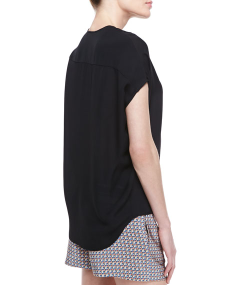 Silk Side-Arch V-Neck Top, Black
