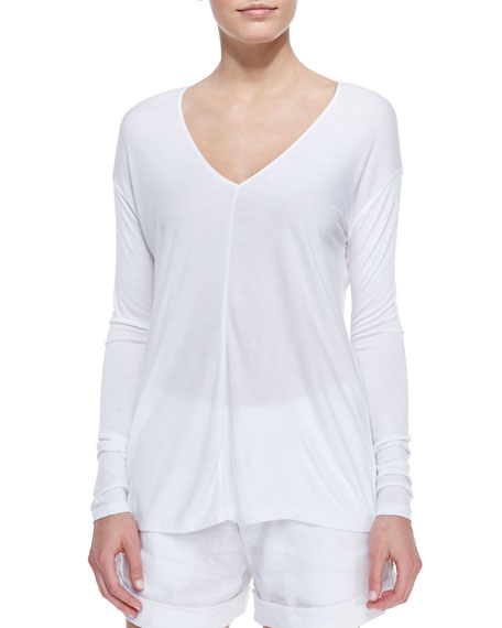 Jersey Long-Sleeve V-Neck Top