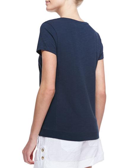 Cotton Short-Sleeve V-Neck Tee Shirt