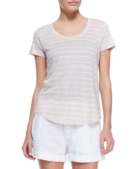 Striped Short-Sleeve Slub Tee, Tawny