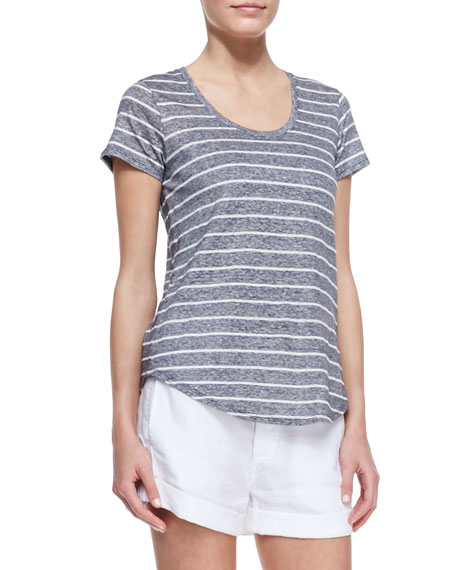 Striped Short-Sleeve Slub Tee, Coastal