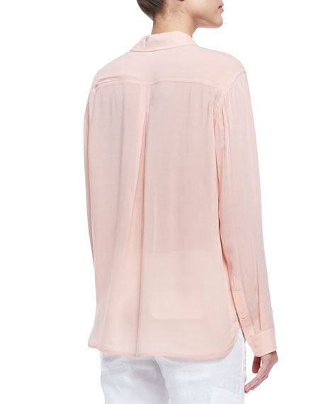 Long-Sleeve Button-Front Blouse