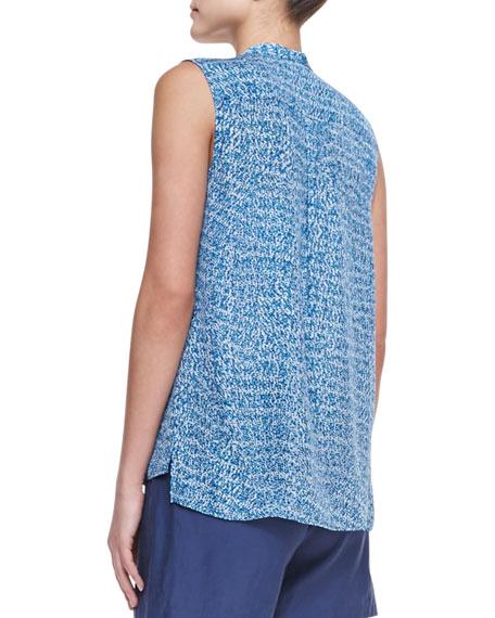 Static-Print Sleeveless Silk Blouse
