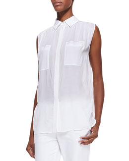 Vince Sleeveless Lightweight Button-Front Blouse