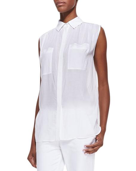 Sleeveless Lightweight Button-Front Blouse