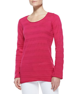 Neiman Marcus Scoop-Neck Long-Sleeve Striped Tunic
