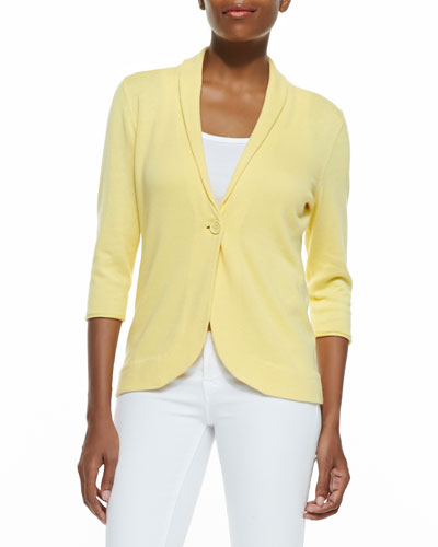 Neiman Marcus Three-Quarter-Sleeve Cotton Blazer, Fire Coral, Golden, Seafoam