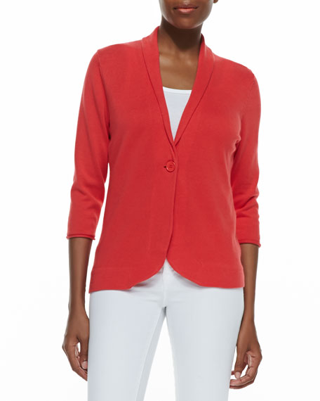 Three-Quarter-Sleeve Cotton Blazer, Fire Coral, Golden, Seafoam