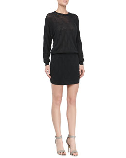 Theyskens' Theory Silk Knit Dress with Pockets, Darkness
