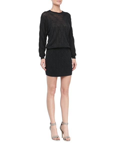 Silk Knit Dress with Pockets, Darkness