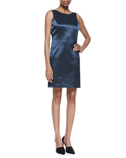 Theyskens' Theory Jacquard Sleeveless Shift Dress, Marine