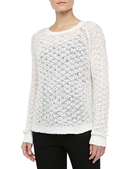 Textured Crewneck Sweater, White