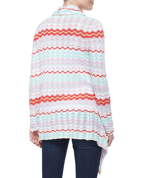 Wavy-Stitch Pointelle Cardigan