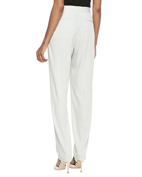 High-Waist Pleated Pants, Ash White