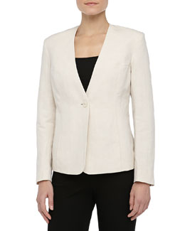 Theyskens' Theory One-Button Linen-Blend Blazer, Warm Cement