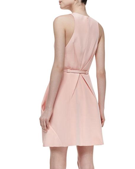 Sleeveless Crepe Short Dress, Pink Champagne