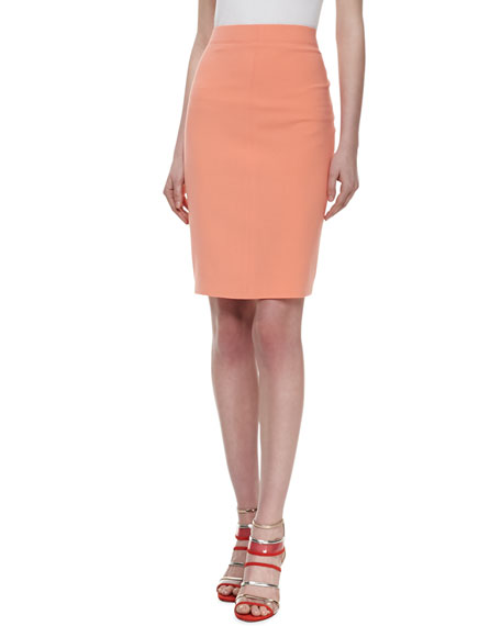 Bonded Double-Face Pencil Skirt, Guava Souffle