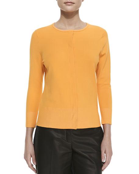 Matte Knit Chiffon-Back Sweater