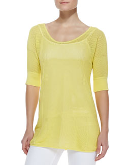 Neiman Marcus Scoop-Neck Half-Sleeve Mesh Tunic