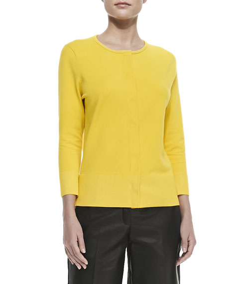 Matte Knit Chiffon-Back Sweater, Mimosa Mist