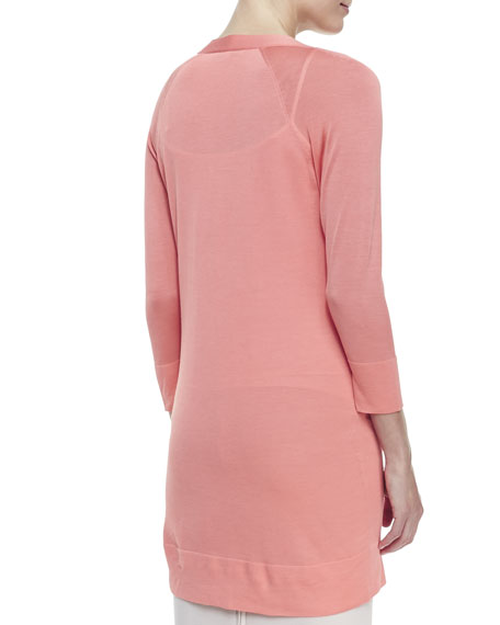 Ultrafine Silk-Cashmere Long Cardigan, Guava Souffle