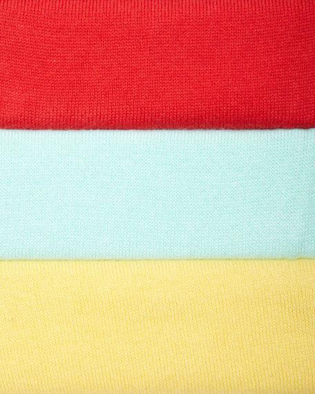 Classic Cotton Knit Cardigan, Fire Coral, Golden, Seafoam