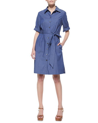 Neiman Marcus Belted Denim Shirtdress