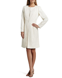 Albert Nipon Jacquard Coat over Satin Sheath Dress