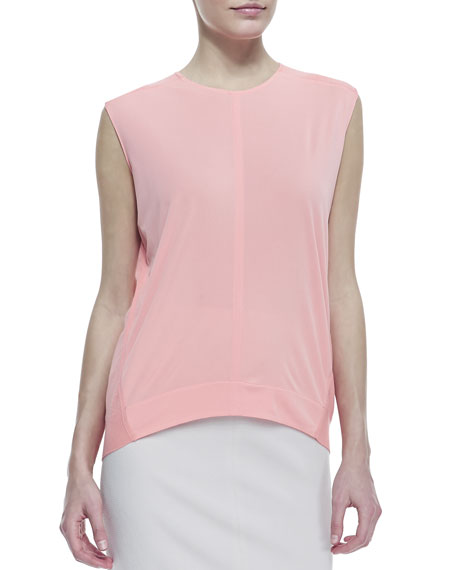Crewneck High-Low Top, Guava Souffle