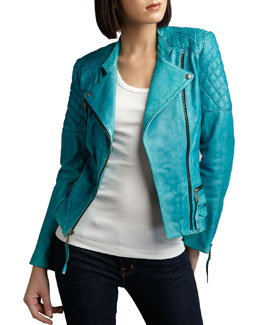 Neiman Marcus Quilted-Detail Leather Jacket