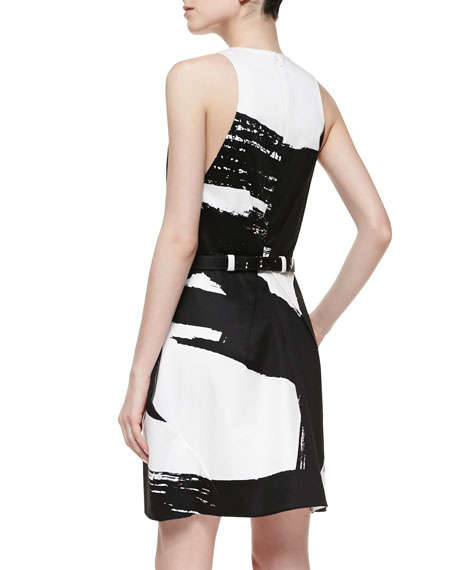 Brushstroke-Print Sleeveless Dress