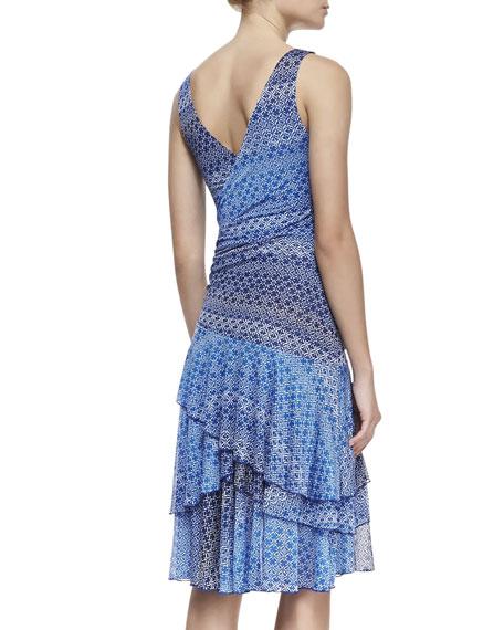 Pippa Asymmetric Tiered-Skirt Silk Dress, Catalina
