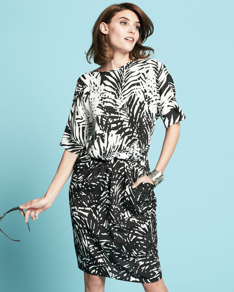 Palm Border Contrast Dress