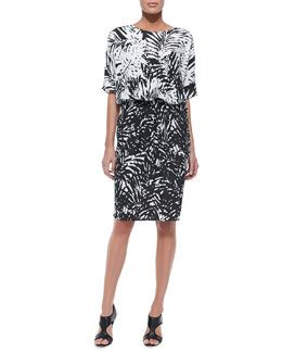 Indikka Palm Border Contrast Dress