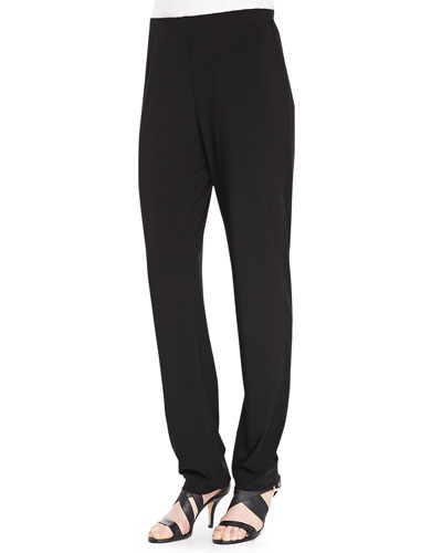 Caroline Rose Stretch Knit Slim Pants, Black