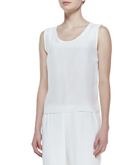 Caroline Rose Long Crepe Tank, White, Women's