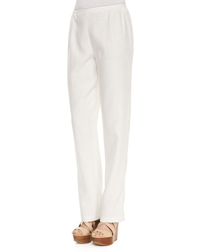 Caroline Rose Linen Straight-Leg Pants, White