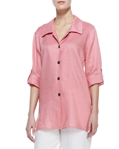 Long Linen Tabbed Shirt, Petite