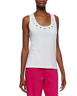 Joan Vass Jersey Grommet-Detail Tank Top, Women's