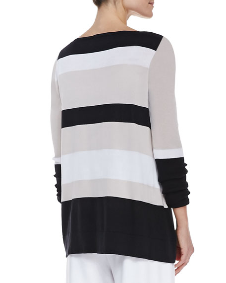 Bold-Striped Knit Easy Tunic