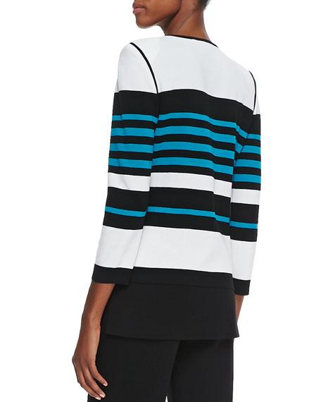 Stripe-Detail Open-Front Jacket, Petite