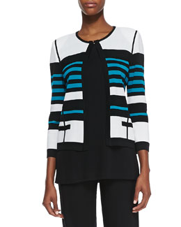 Misook Stripe-Detail Open-Front Jacket