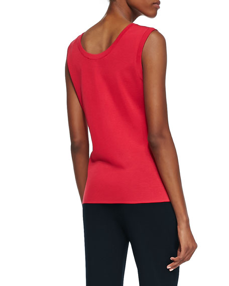 Sleeveless Knit Tank, Red, Petite