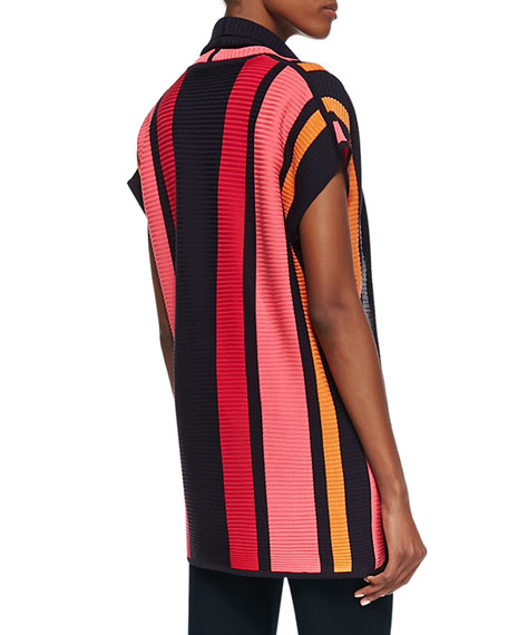 Striped Ribbed Short-Sleeve Jacket, Women's