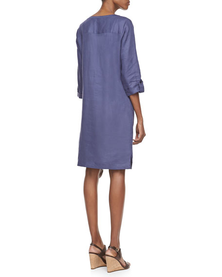 Linen Pocket-Front Shirtdress, Women's