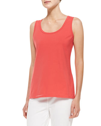 Essential Four-Way Stretch Jersey Tank, Coral